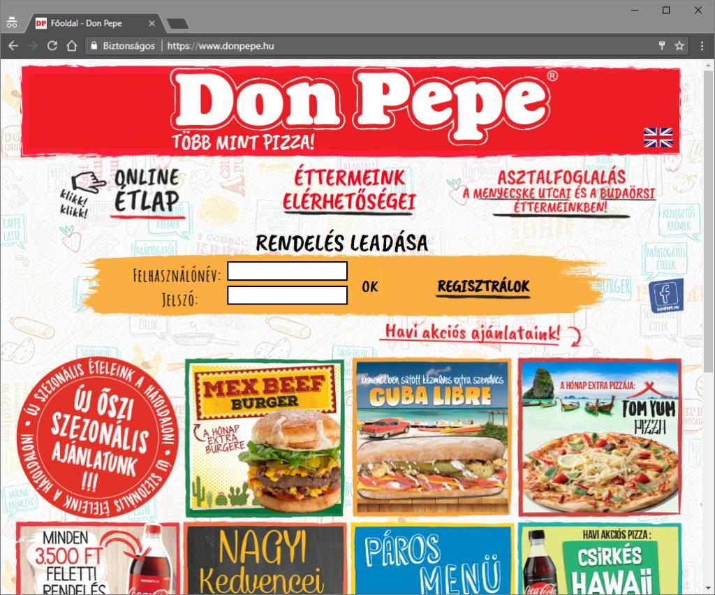 DonPepe online rendelő rendszer programozása