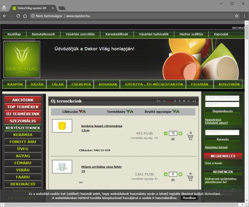 Nyester Kft. weboldala és áruháza