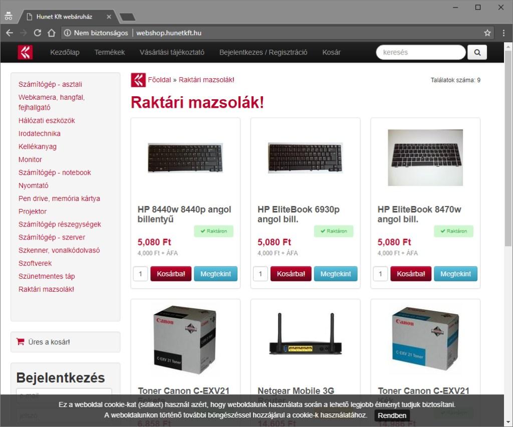 Hunet Kft webáruháza